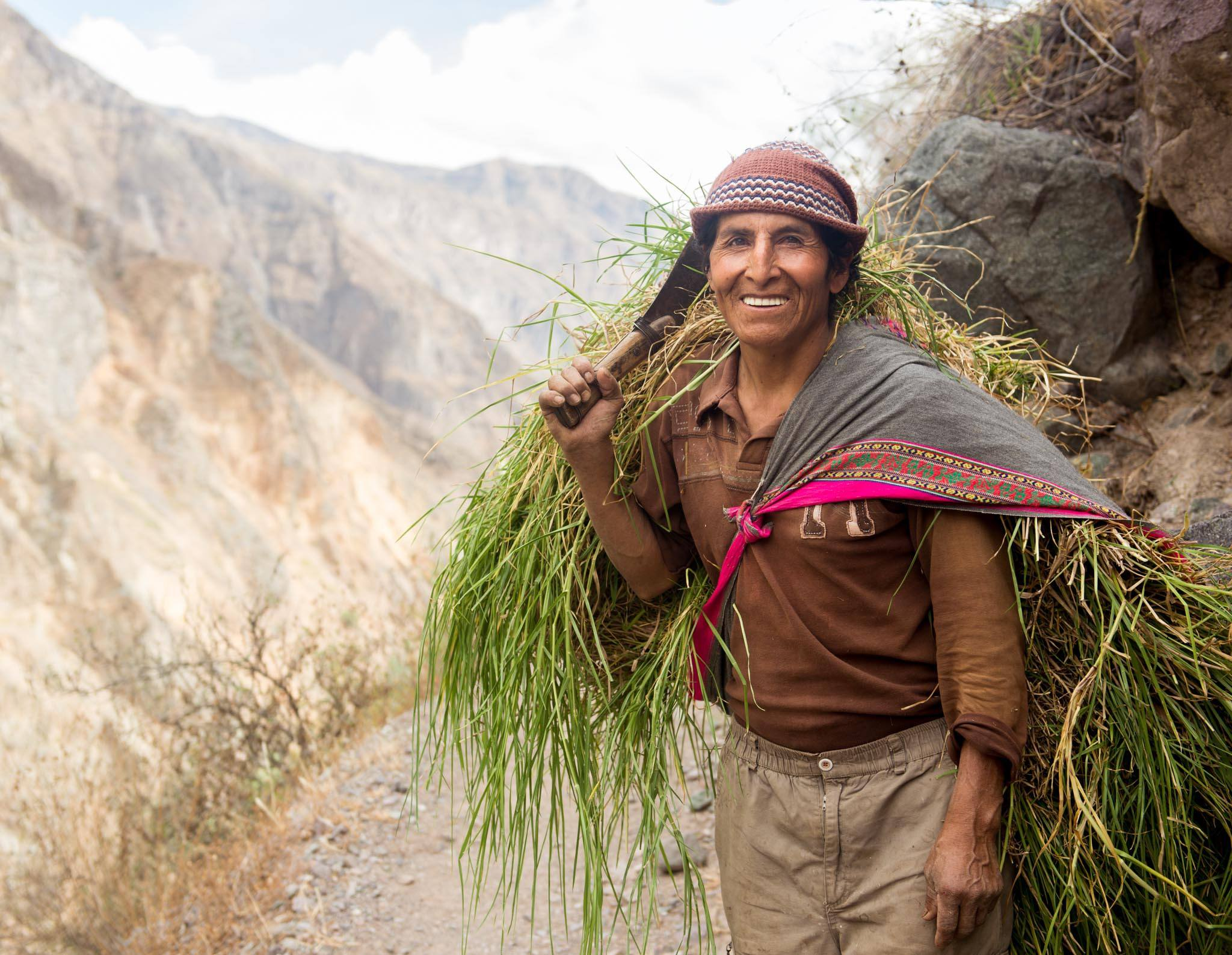 If you're friendly and curious, most people will give you a big smile when you ask to take their photos – even when they're holding a giant machete. (Colca Canyon, Peru. 2013.)