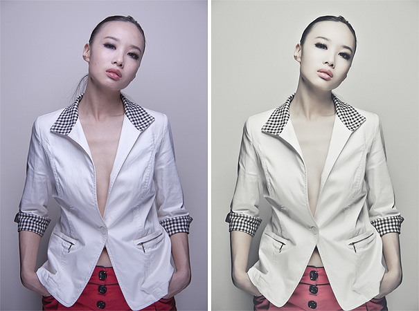Raw on the left and final retouched image on the right. It is clear to see that the final 'client ready' image has had a personal preference and style added. Photography and retouching by Jake Hicks Photography
