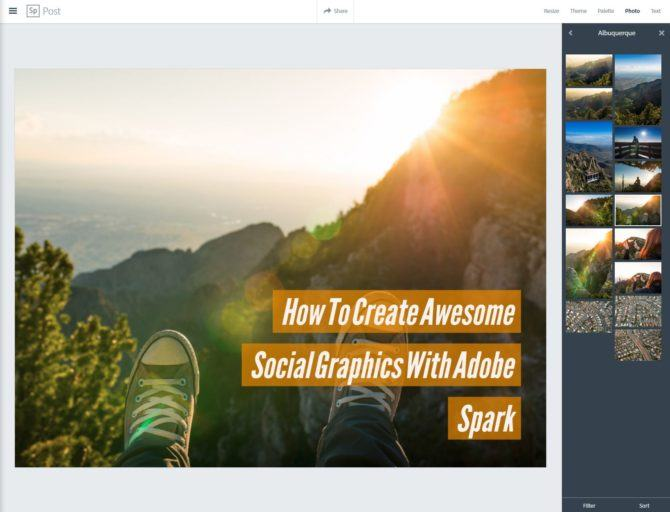 Adobe Spark How to Create Social Graphics Step 2