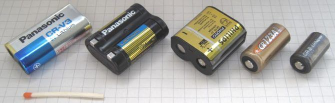 A selection of various camera batteries. Photo from wikipedia user Lead Holder