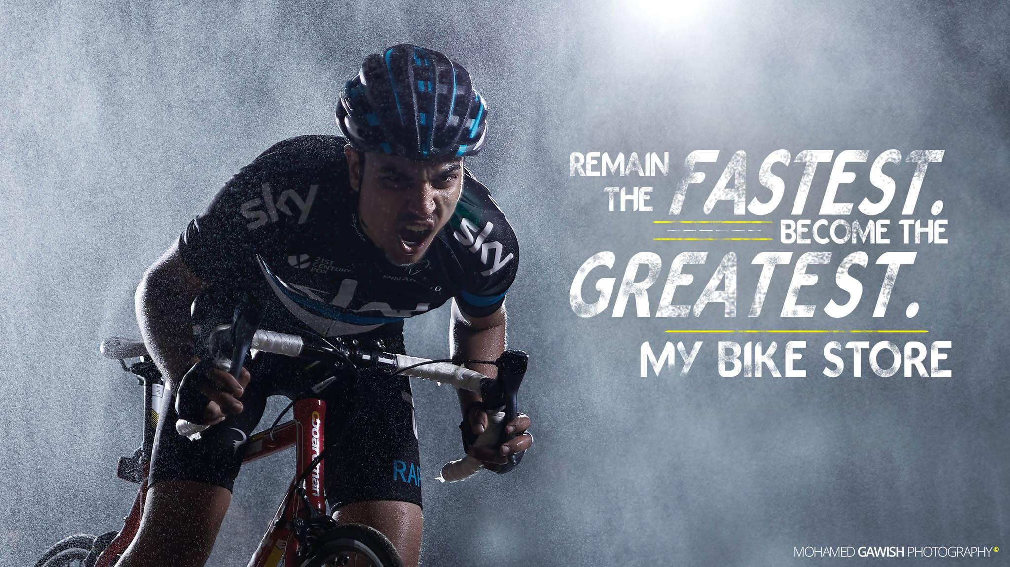 Cyclist Ayman Habeta on set