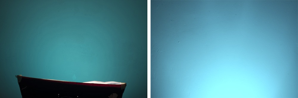 The images above show the difference between modifiers when used in conjunction with gels. The image on the left is a small softbox with a blue gel, the colour is less vibrant and lacks in saturation from edge to edge plus there is little sign of a distinctive hotspot. On the right we have a gel attached to gridded reflector dish, the resulting light is a lot more saturated but has a significant hotspot that drops off dramatically. If you wanted a flat even toned gelled backdrop then the softbox is the way to go.