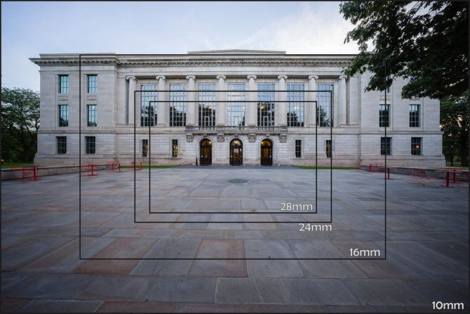 Fields of View of the 10mm compared to other wide-angle focal lengths (click to enlarge)