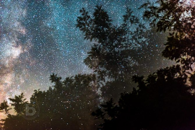 An abstract double exposure of the Milky Way galactic centre made by moving the camera during capture.