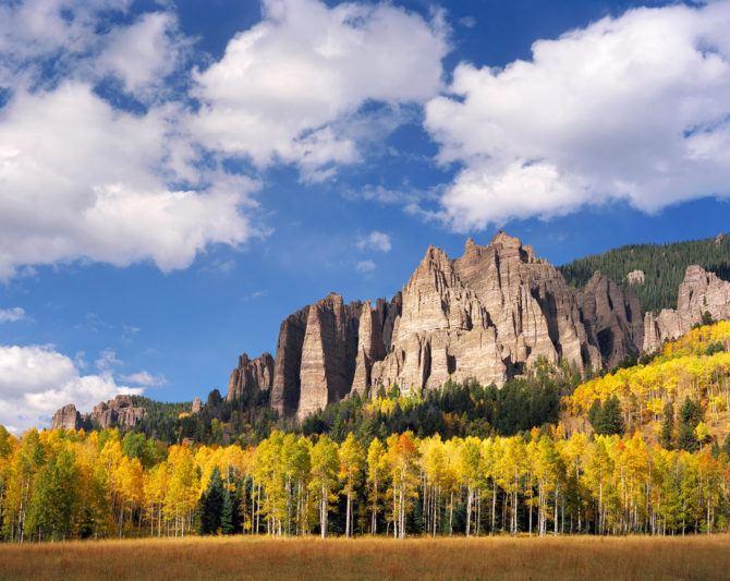 """Aspen and Rock Spires"" - Ektar 100 4x5, 135mm lens - 1/8th second at f22, polarizing filter."