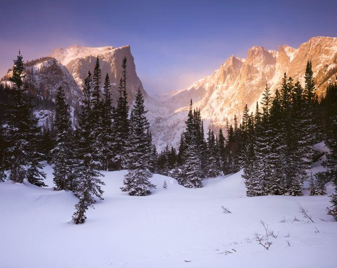 """""""Hallet Alpenglow"""" - Provia 100f 4x5, 135mm lens. 1/8th second at f32, 2 stop soft GND and warming filter."""