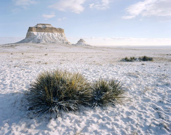 """""""Pawnee Buttes in the Snow"""" - Portra 160 4x5, 90mm lens. 1/60th second at f22, no filters."""