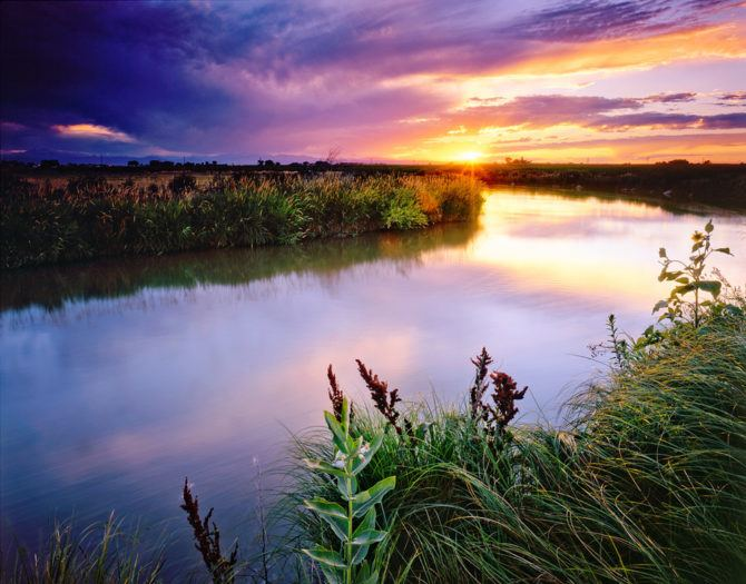 """""""Irrigation Ditch Sunset"""" - Velvia 50 4x5, 75mm Lens - 4 seconds at f32, 2 stop hard and 2 stop soft GND filters."""