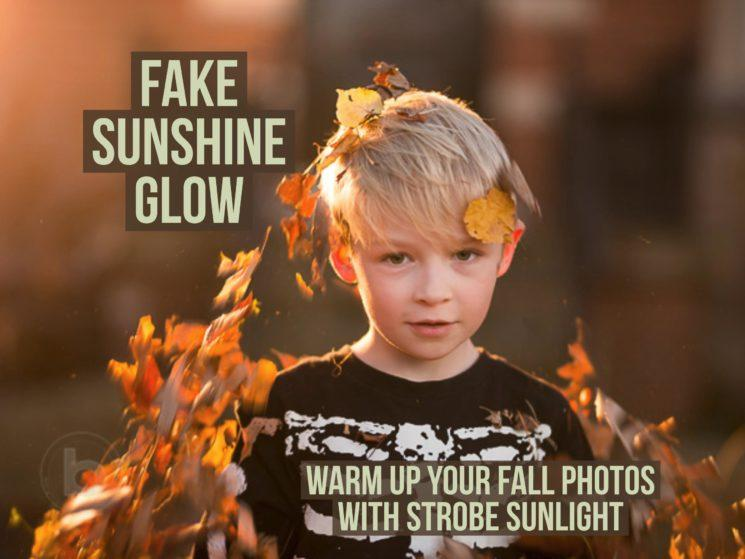 fake golden hour sunshine glow with strobe sunlight