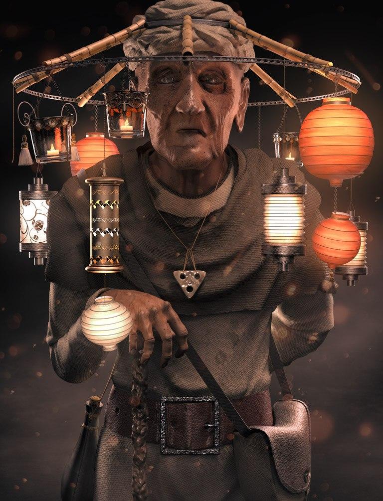 The Lantern Salesman - ZBrush / Cinema4D / V-Ray / Photoshop (no photography)