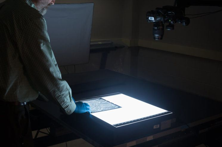 9x9 Aerial Photography Film on Top of Kaiser Prolite Scan Lightbox