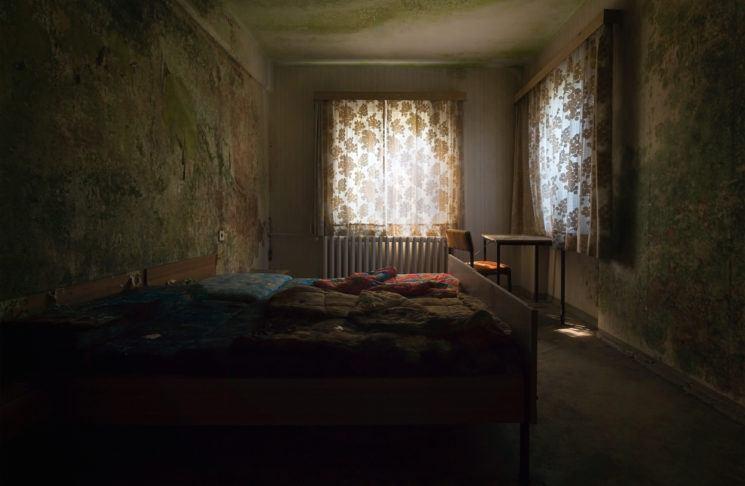 Abandoned hotel room.