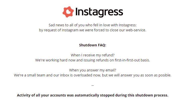 Instagress shutdown
