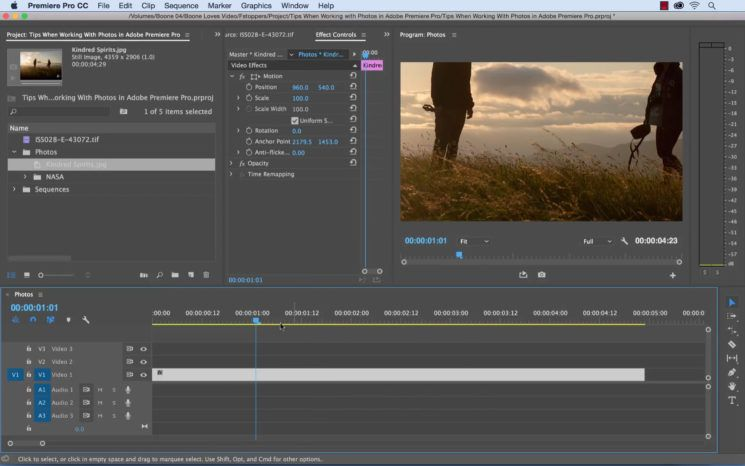 7 great tips for working with photographs in Adobe Premiere Pro