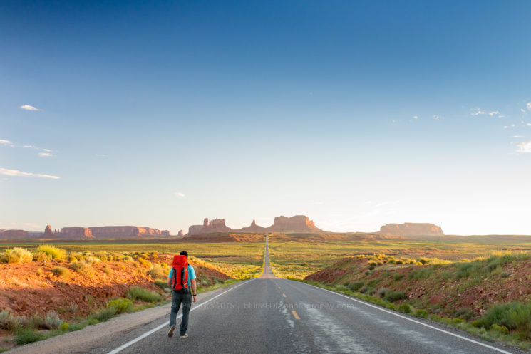 """""""Forrest Gump Point"""" Mile 13 on U.S. Route 163 Scenic, Oljato-Monument Valley heading south from Mexican Hat Utah in early evening."""
