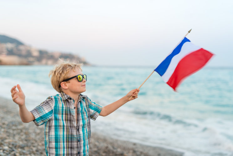Boy at Nice Beach on the French Riviera