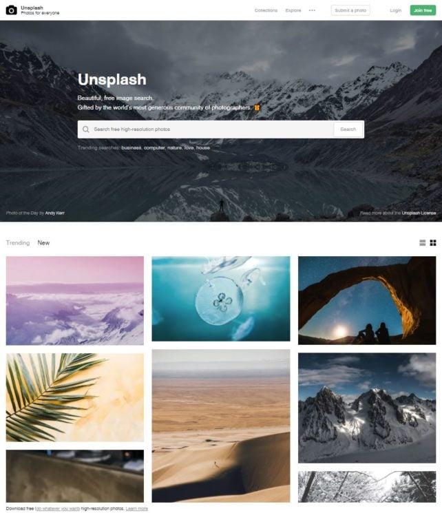 Unsplash Welcome Screen