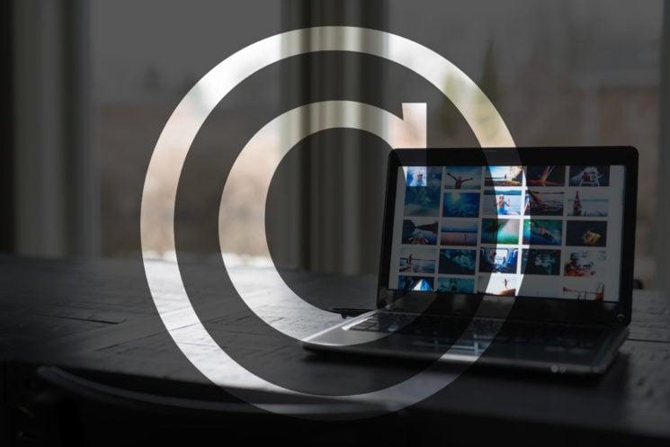 Copyright Symbol with Laptop Computer
