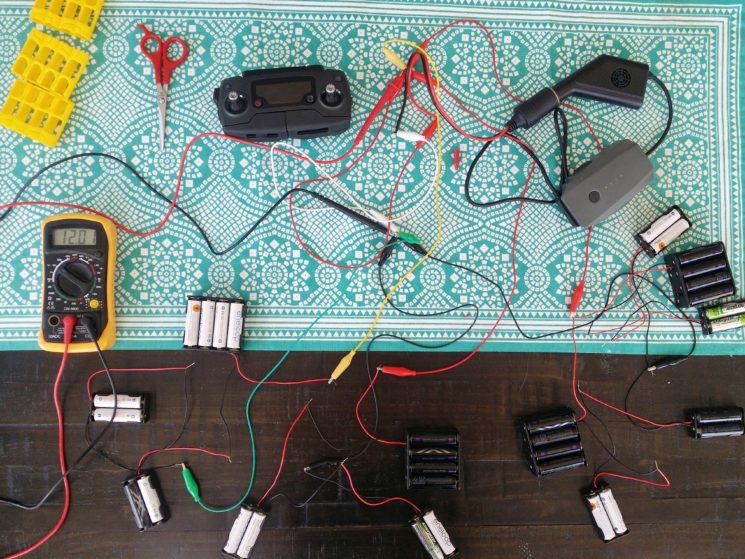 Charging drone batteries off grid with AA batteries