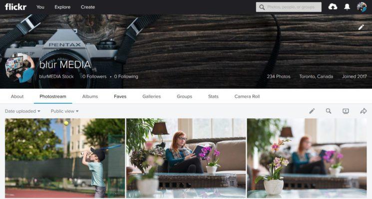 Flickr Account Screen