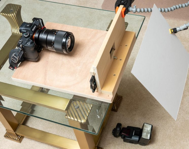DIY film and slide scanner using a DSLR and macro lens on a wooden mount