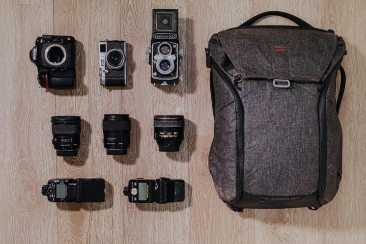 insides of a wedding photographer's bag