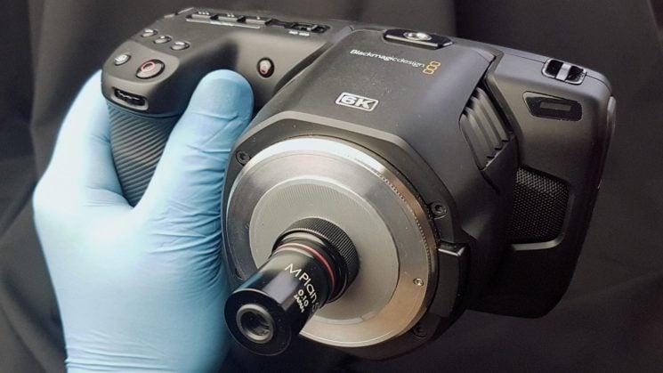 Blackmagic design pocket 6k with plan 5x microscope lens