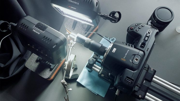 Blackmagic design pocket 6k with Lomo 8x microscope lens