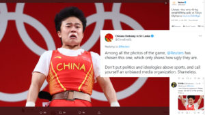 """China slamming Reuters over an """"ugly"""" photo of weightlifting Olympics champion"""